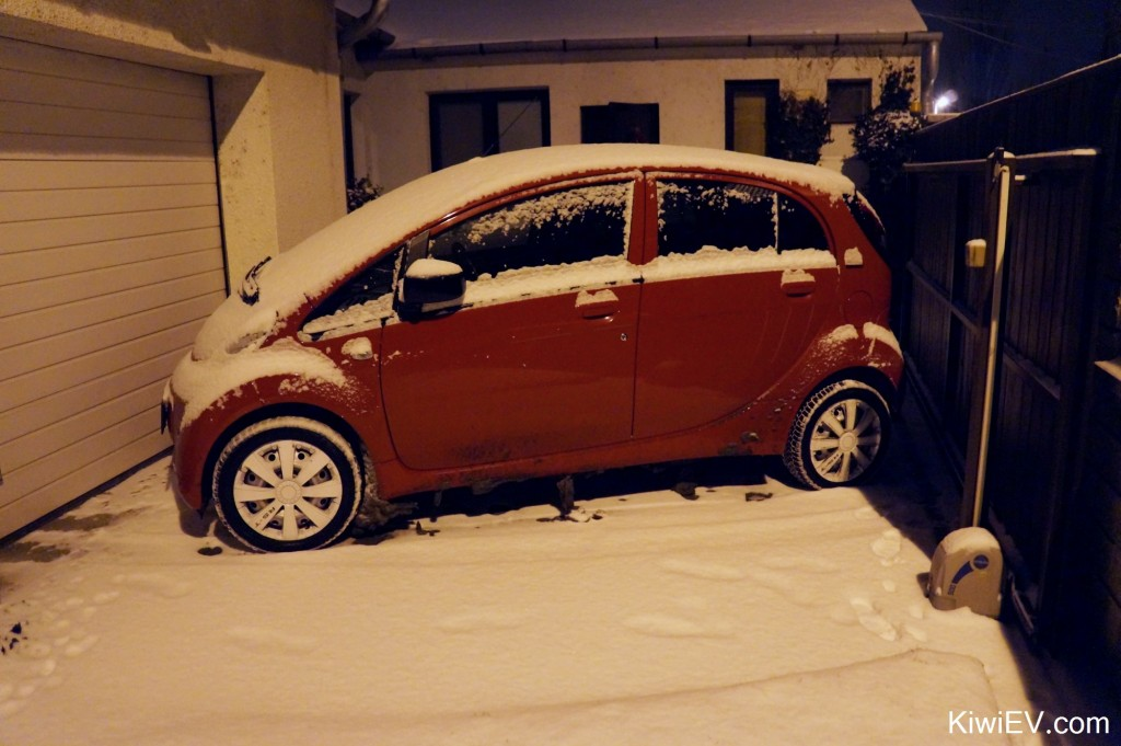 electric car in the snow