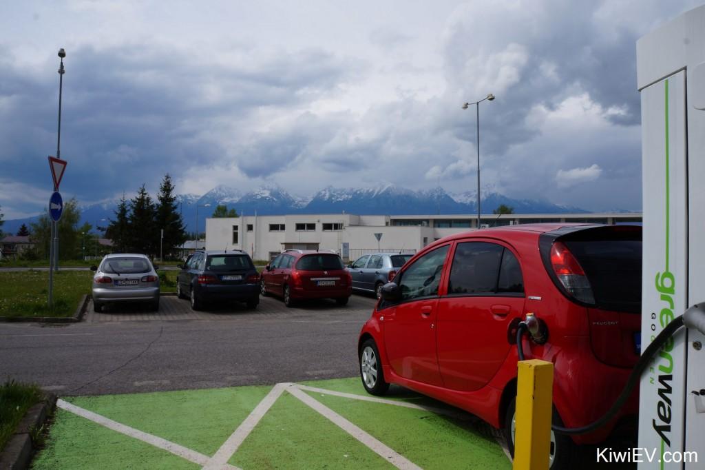 Kiwi EV electric car in Slovakia. Taking my Peugeot iOn electric vehicle on a trip across Slovakia to Ukraine.
