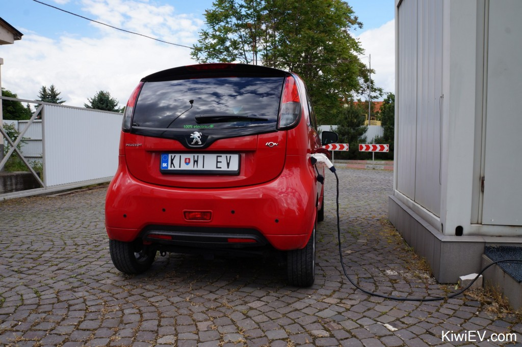 Kiwi EV electric car in Slovakia. Taking my Peugeot iOn electric vehicle on a trip across Slovakia to Ukraine.