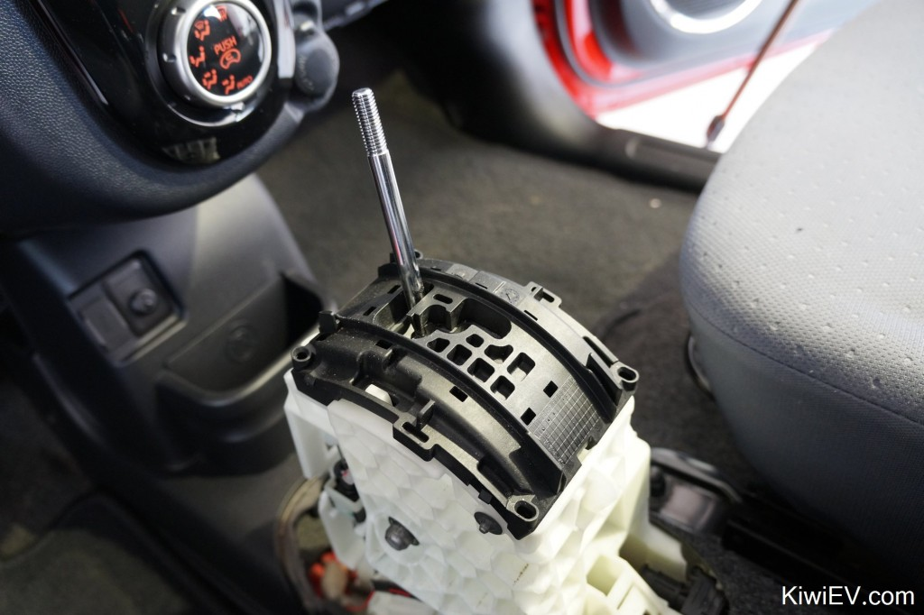 Mitsubishi iMiEV eco mode how to unlock on Peugeot iOn Citroen C-zero gear shifter knob