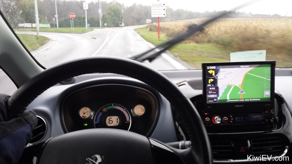 Driving a very cold electric car.