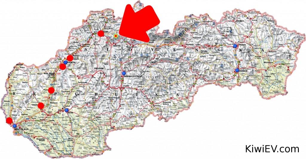 Kiwi EV Slovakia map
