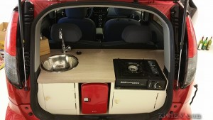 kitchen in a car