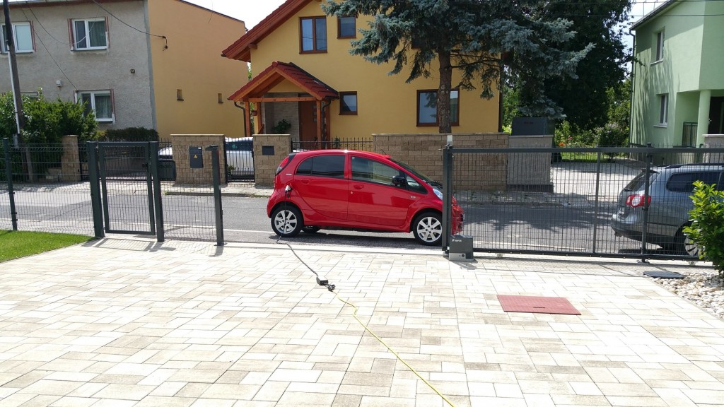 electric car charging on street